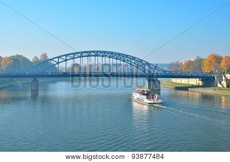 Boat on Vistula river in Krakow.