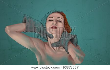 Artistic painting of woman choke herself
