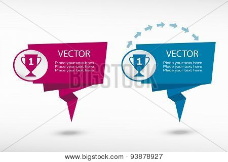 Champions Cup On Origami Paper Speech Bubble Or Web Banner, Prints