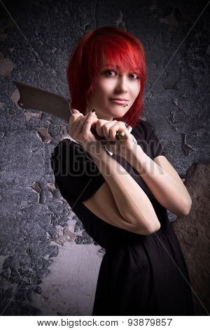 Red-haired Girl Has An Ax