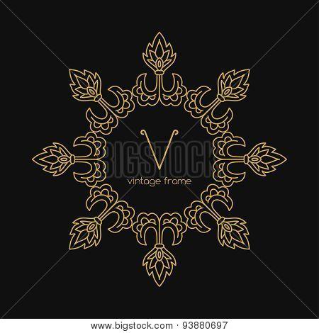 Vintage Frame. Vector illustration. Geometric Line Design