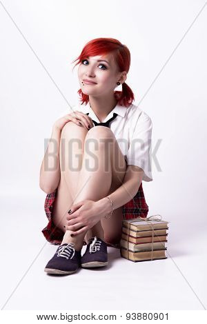 Young Girl In Anime Style With Books