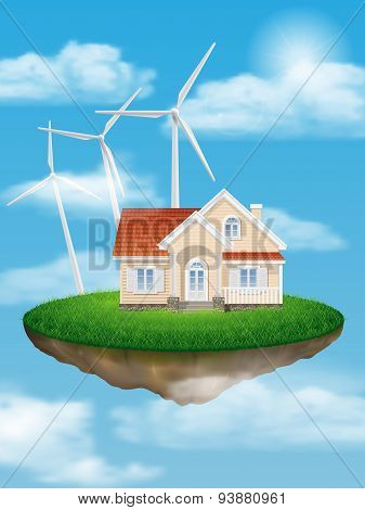 House With Wind Turbines On A Floating Island