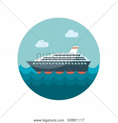 Cruise Transatlantic Liner Ship Flat Icon
