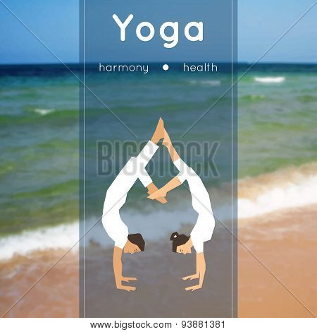Yoga poster with couple of man and woman in the yoga pose on a blurred photo background.