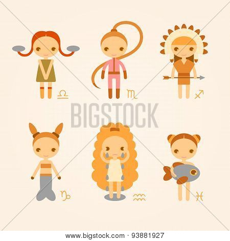 Vector illustrations of zodiac signs