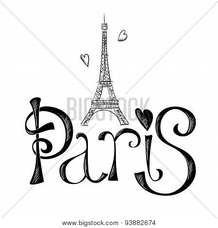 Hand drawn illustration with Eiffel tower. Paris.