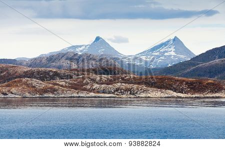 Norwegian Landscape With Sea Coast And Mountain