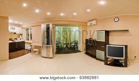 Large panorama room, studio apartment