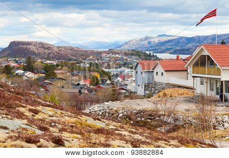 Fishing Norwegian Town With Colorful Wooden Houses