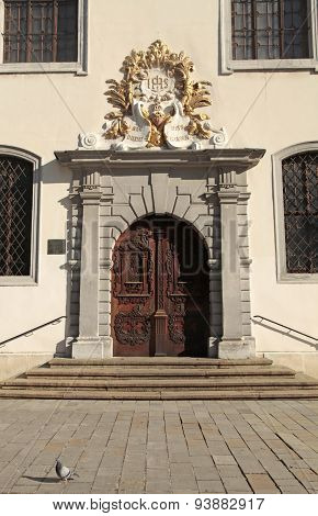 The Jesuit Church Entrance With Decorated Wood Door, Bratislava, Slovakia