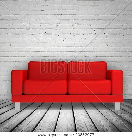 Brick Wall And Red Leather Sofa, 3D Illustration