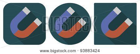 Icon Of Horseshoe Magnet In Flat Design