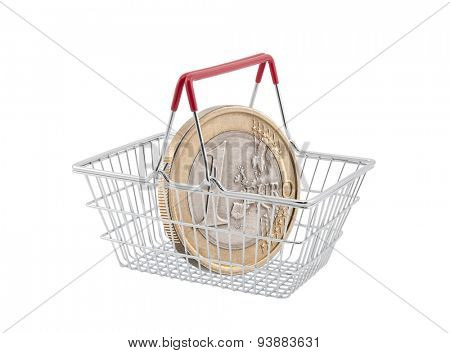 Shopping basket with one euro coin on white background