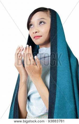 Muslim Woman Praying, Isolated On White