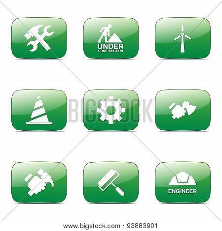 Construction Tools Square Vector Green Icon Design Set 2