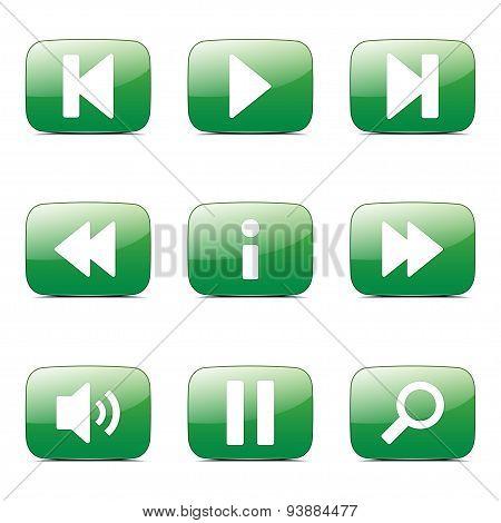 Multimedia Controller Square Vector Green Icon Design Set