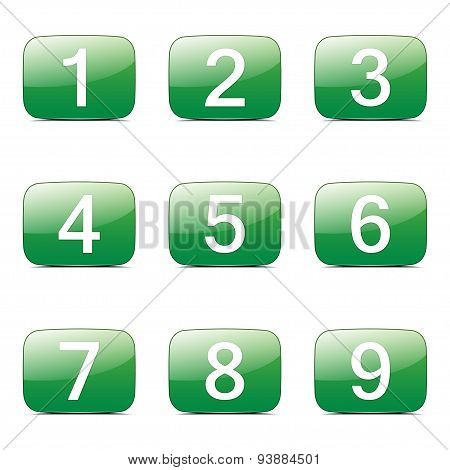 Numbers Counting Square Vector Green Icon Design Set