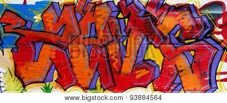 MOSCOW - JUNE 14, 2015: Graffiti on a urban wall. (Timiryazevskaya street, Moscow)