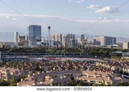 LAS VEGAS, NEVADA, USA - June 10, 2015:  Sunny afternoon sky above condo complexes and the Stratosphere and Fontainebleau towers on the Las Vegas Strip.