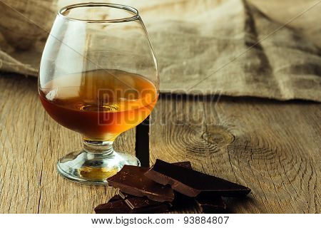 Cognac Glass And Chocolate