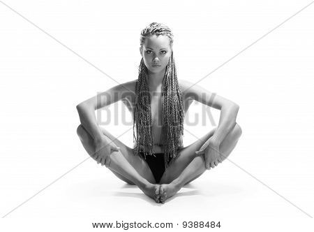 The Girl In A Pose Of A Lotus
