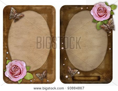 Two Old-fashioned  Paper Photo Frames With Butterfly And Rose Isolated On White Background