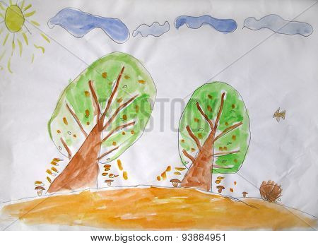 Child's Painting. Two Autumn Trees