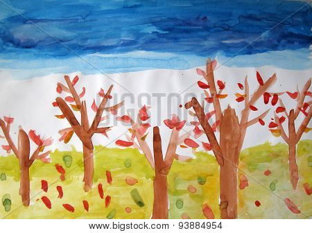 Child's Painting. Autumn Trees