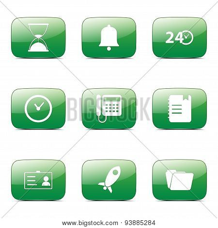 Time Duration Square Vector Green Icon Design Set