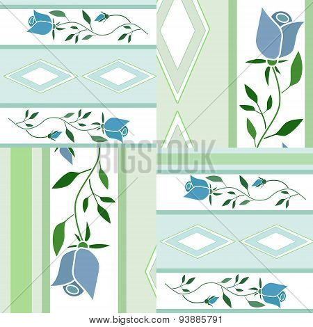 Patchwork Floral Pattern Background With Decorative Elements