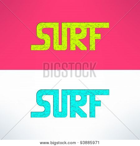 Vector surf grunge text design background. Surfing t-shirt print