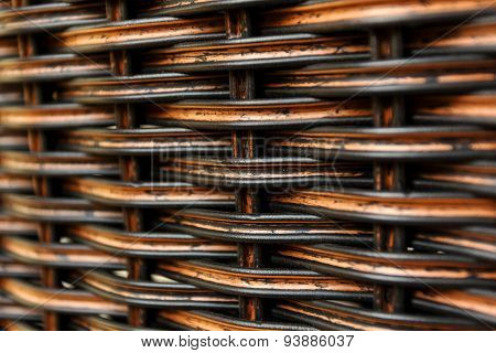 Close Up Dark Weave Of Rattan Background