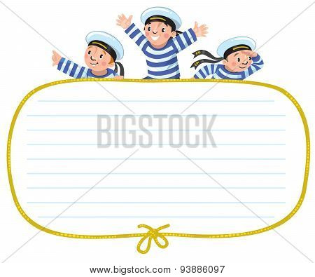 Banner or card with happy sailors