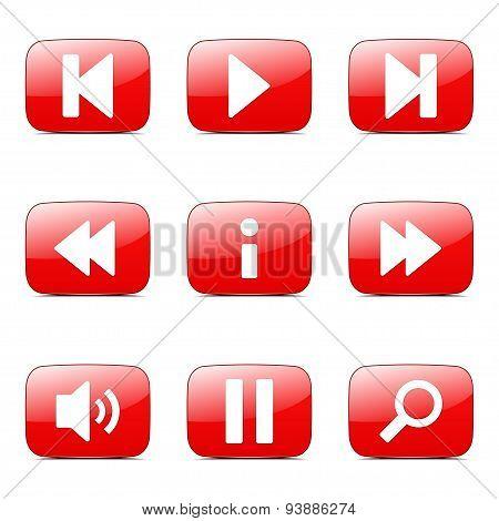 Multimedia Controller Square Vector Red Icon Design Set