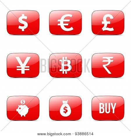 Currency Sign Square Vector Red Icon Design Set