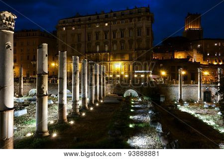 Trajan Forum At Night In Rome
