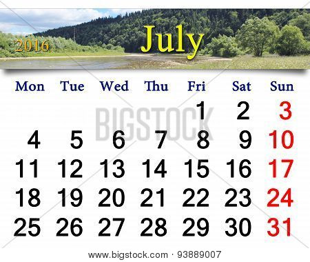 Calendar For July 2016 With Mountain River