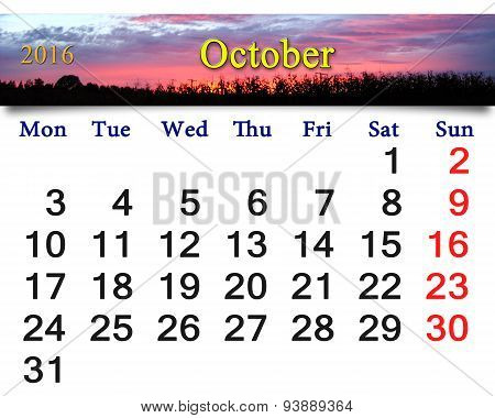 Calendar For October 2016 With Crimson Sunset