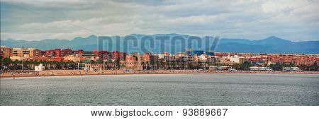 Aerial View Of The City Beach In Valencia, Spain