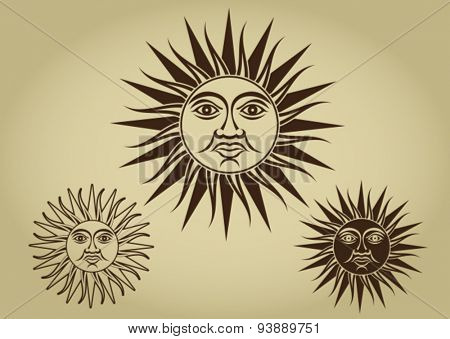 Vintage Retro Sun Illustration Set