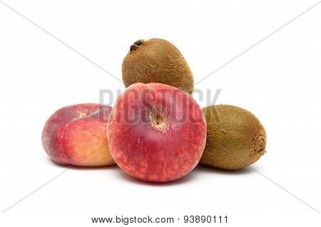 Peaches And Kiwi Fruit Close-up On A White Background