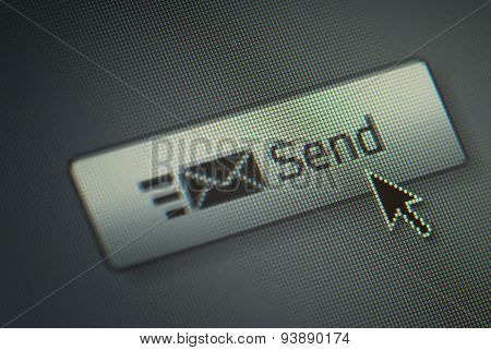 Close-up Of A Send Button And a Hand Mouse Cursor