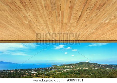Wood Ceiling Texture And View To The Sea