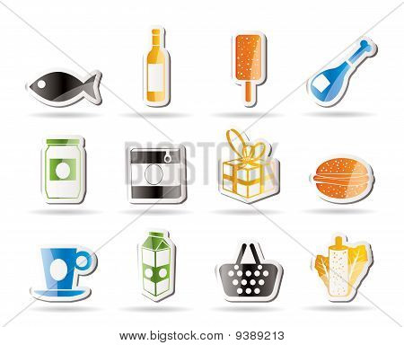 Shop, food and drink icons 1