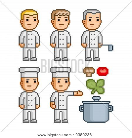 Pixel art collection chefs