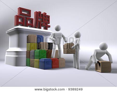 Construção de uma marca de produto (com texto em Chinês)