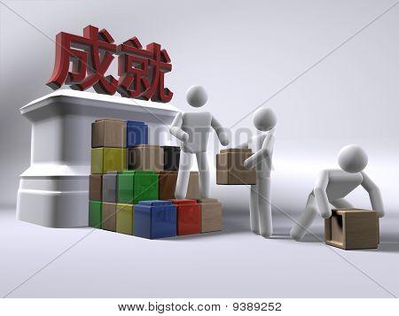 Gebäude-Leistungen (mit chinesischem Text)