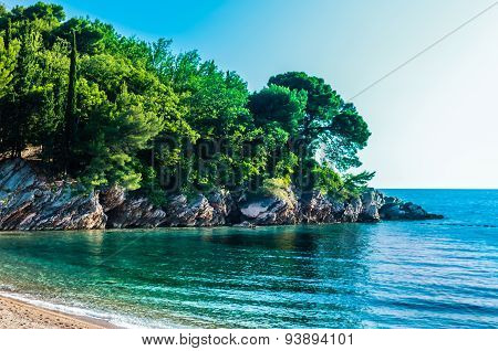 Landscape View On Sea And Mountain In Montenegro