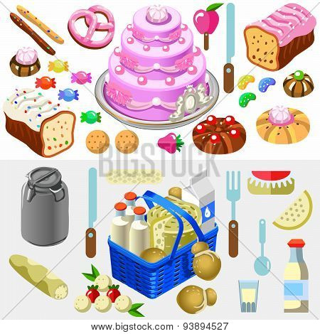 Food Set Candy And Dairy 3D Isometric